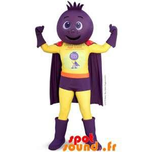 Mascotte supereroe, con la testa cipolla, barbabietola