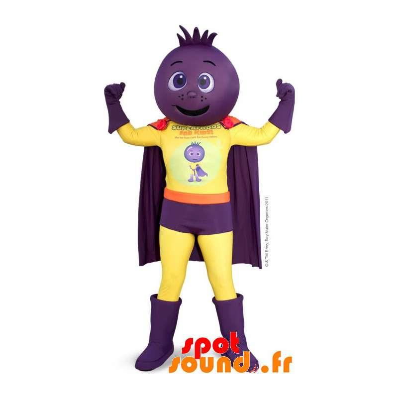 La mascota de superhéroes, con la cabeza de cebolla, remolacha