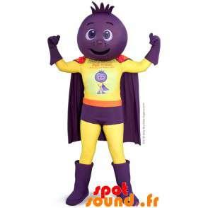 Superheld mascotte, met ui hoofd, Bieten