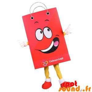 Gigantiske papirpose maskot. Red Shopping Bag