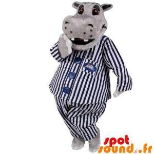 灰色のカバのパジャマをマスコット。パジャママスコット