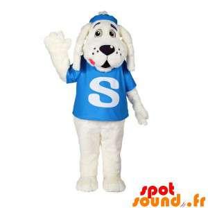 Mascotte witte hond met een...