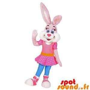 Roze en wit konijn met een...