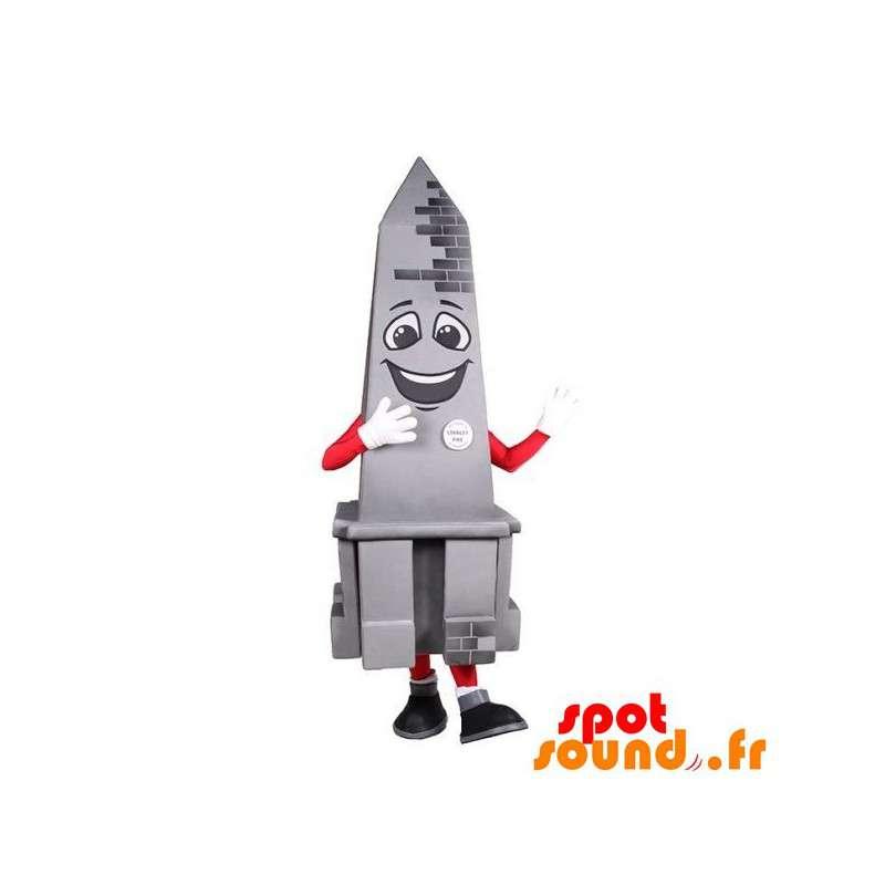 Monument Mascot, Gray Obelisk, Smiling