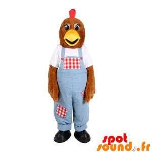 Brun hønsmaskot med overall - Spotsound maskot