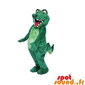 Mascotte coccodrillo verde, completamente personalizzabile