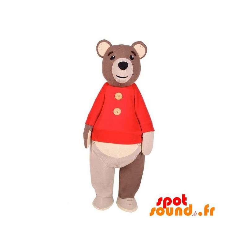 Mascot großen braunen Bär mit einem roten Pullover