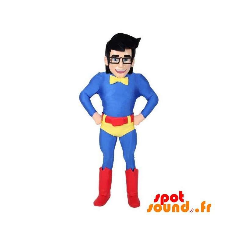 Mascotte supereroe con gli occhiali e un abito colorato