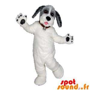 Mascote cão branco, cinza e...