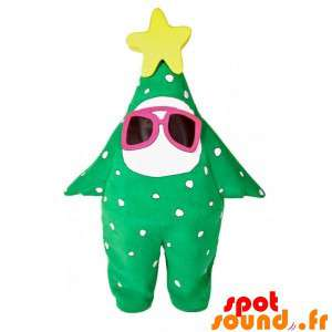 Mascot Green Star, Tree With Glasses And A Star