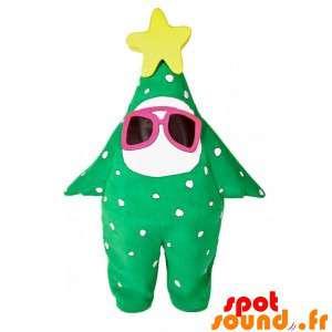 Mascotte d'étoile verte, de sapin avec des lunettes et une étoile