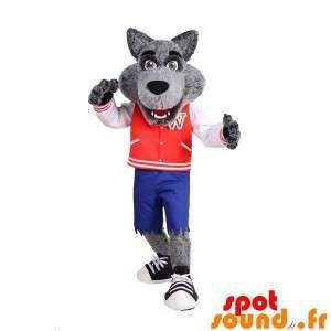 Meget realistisk grå ulvemaskot med jakke og shorts - Spotsound