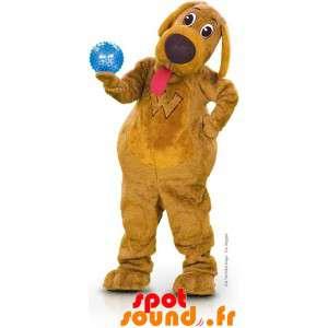 Brun hund maskot med tungen...