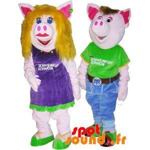 2 mascots Schweine, ein...
