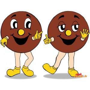 2 mascottes de cookies géants. 2 gâteaux