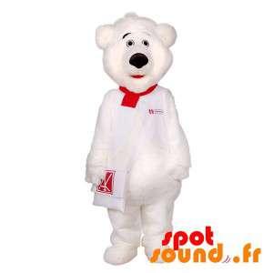 Hvit teddy maskot med en veske
