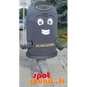 Maskot gigantisk svart bin. søppelcontainer Mascot