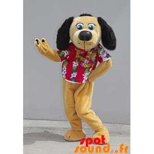 Mascotte de chien beige et...
