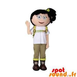 Mascota de la muchacha con una mochila. excursionista Mascot