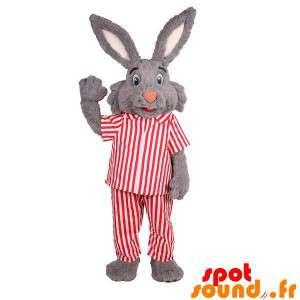 Grå kaninmaskot i stribet pyjamas - Spotsound maskot