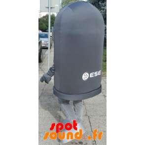 Maskot gigantisk svart bin. søppelcontainer cosume