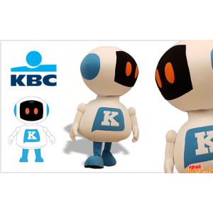 白と青のロボット巨大なマスコット。KBCのマスコット