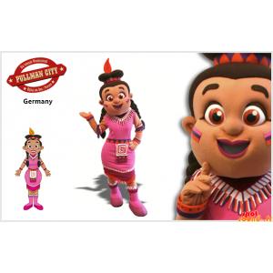 Maskot kvinde, indisk med en lyserød kjole - Spotsound maskot
