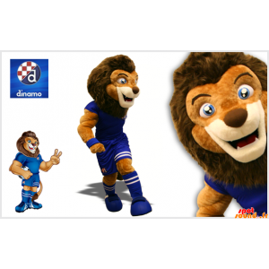 Brown Lion Mascot Holding...