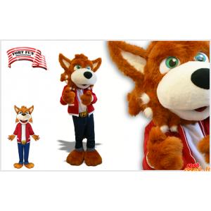 Wilk Mascot, brązowy pies z zielonymi oczami
