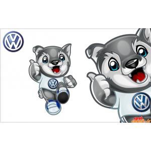 Mascot van kleine grijze en...