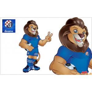 Brun lejonmaskot, mycket muskulös i fotbollsdräkt - Spotsound