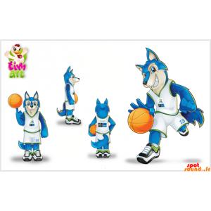 Wolf maskot klædt som en basketballspiller. Blå ulv - Spotsound