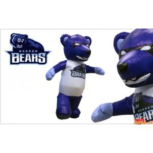 Blå bjørnemaskot, sort og hvid, kæmpe - Spotsound maskot