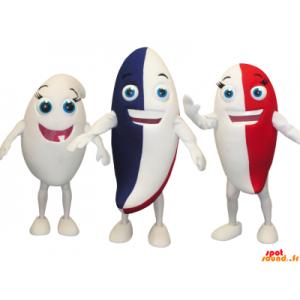 3 maskotter af farverige snemænd, tandpasta - Spotsound maskot