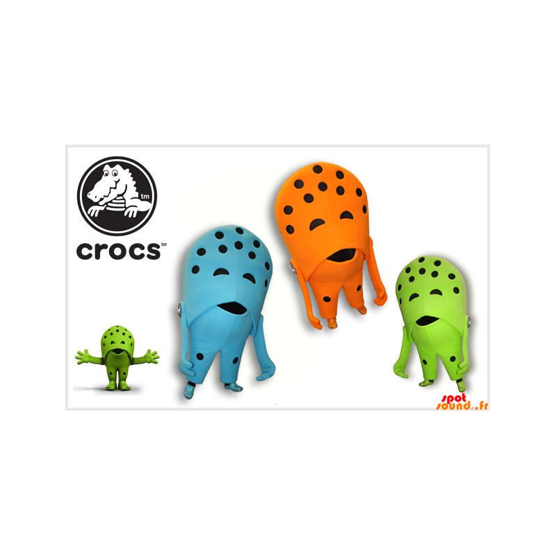 3 Crocs Shoe Mascots. Colored Shoes