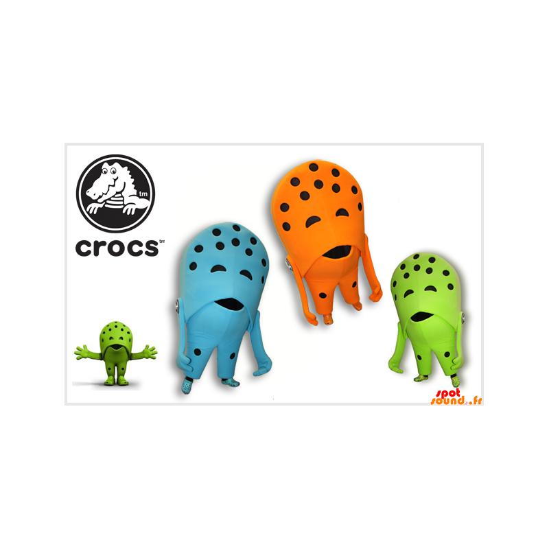 3 Crocs sko maskotter. fargede sko