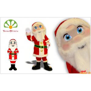 Maskot julemanden i traditionel kjole med smukke øjne -