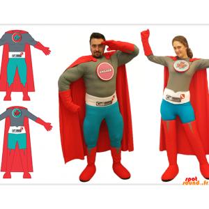 2 super-herói traje, um homem e uma mulher