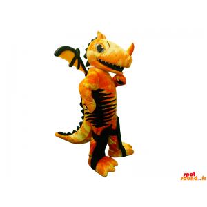 Gele draak mascotte, rood...