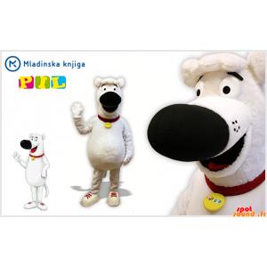 Witte hond mascotte en...