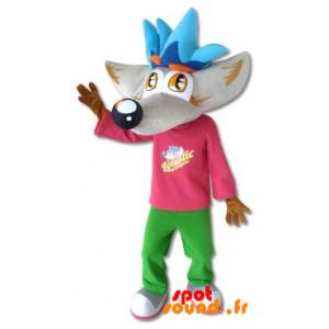 Mascotte de loup gris et marron avec une tenue colorée