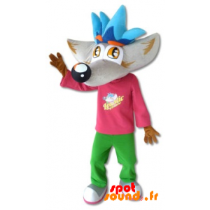 Mascot Gray And Brown Wolf With A Colorful Outfit - MASFR034200 - Mascots Wolf