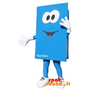Mascotte de livre bleu et blanc géant. Costume de livre