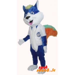 Mascotte de chat, de rongeur bleu avec de grandes dents
