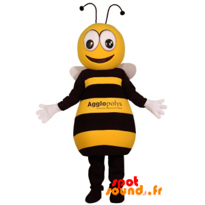 Mascot Of Black And Yellow Bee, Very Successful - MASFR034210 - Mascots bee