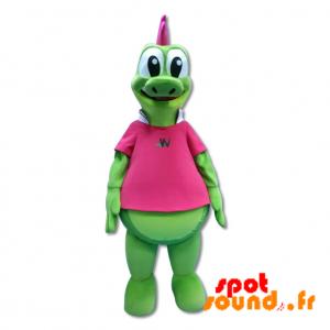 πράσινο κροκοδείλια μασκότ, γιγάντιο δεινόσαυρο