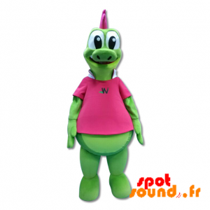 緑色のワニのマスコット、巨大な恐竜