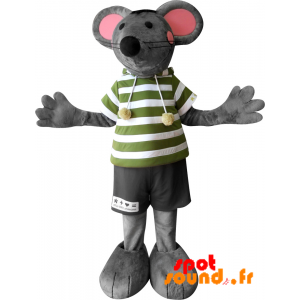 Gray And Pink Mascot Mouse With Big Ears - MASFR034212 - Mouse mascot