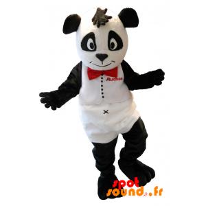 Mascotte de nounours blanc et noir. Mascotte de panda Auchan