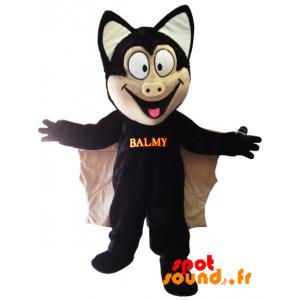 Mascotte de chauve-souris noire et beige avec de grandes ailes